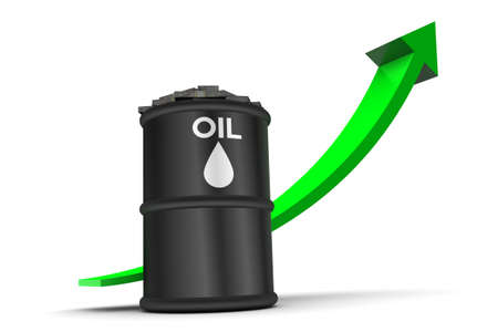 Oil price up trend  illustration isolated on white background illustration