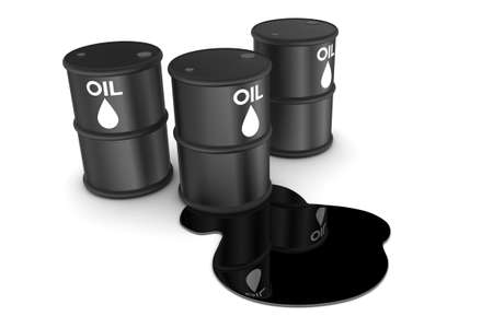 Oil spill and drums illustration isolated on white background illustration