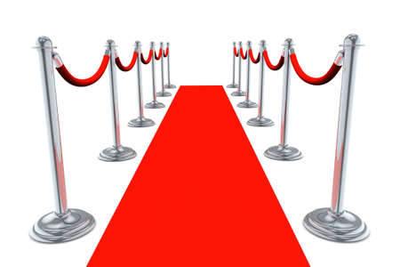 red star: Red Carpet walk way isolated on white background