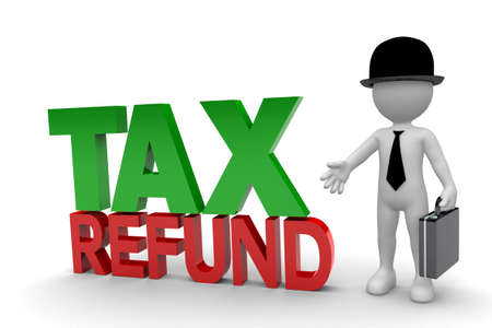 Business Man and Tax Refund isolated on white background Фото со стока