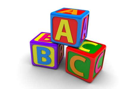 Children Alphabet Blocks isolated on white background Banco de Imagens