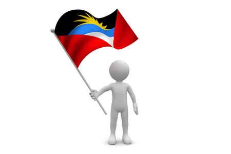 antigua flag: Antigua Flag waving isolated on white background