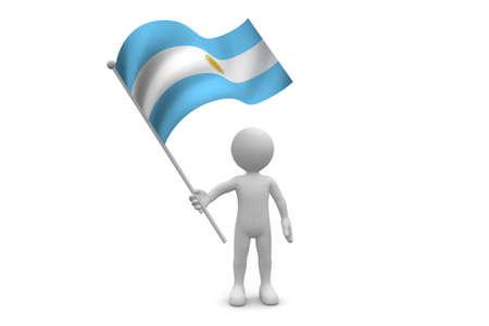 bandera argentina: Argentina bandera ondeando aislados en fondo blanco