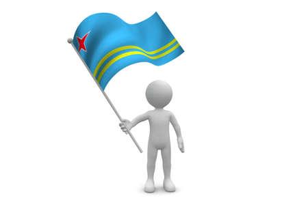 aruba flag: Aruba Flag waving isolated on white background