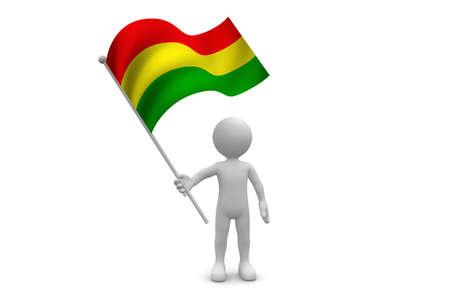 bandera de bolivia: Bolivia bandera ondeando aislados en fondo blanco