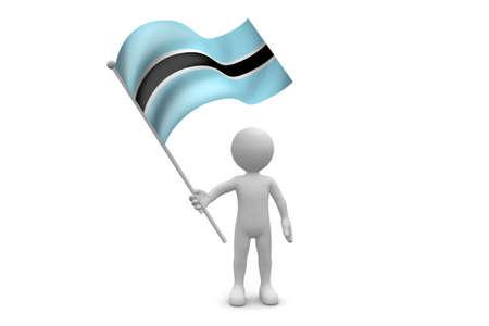 botswana: Botswana Flag waving isolated on white background