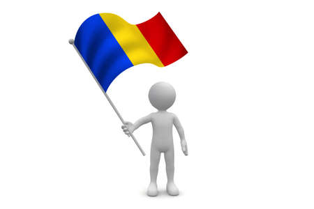 chad flag: Chad Flag  waving isolated on white background