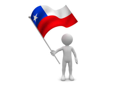 flag of chile: Bandera de Chile waving aislado en fondo blanco