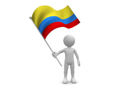 Colombia Flag waving isolated on white background Фото со стока