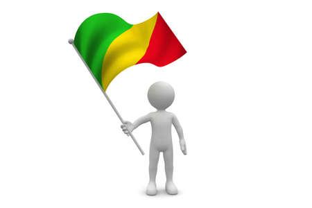 Congo Flag waving isolated on white background Фото со стока