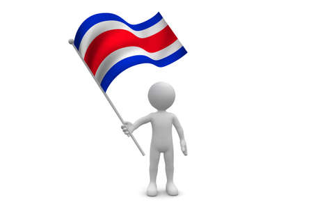 Costa Rica Flag  waving isolated on white background