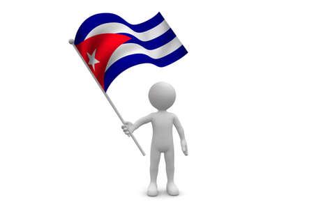 Cuba Flag waving isolated on white background Фото со стока