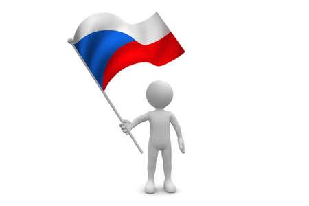 Czech Republic flag waving isolated on white background Фото со стока