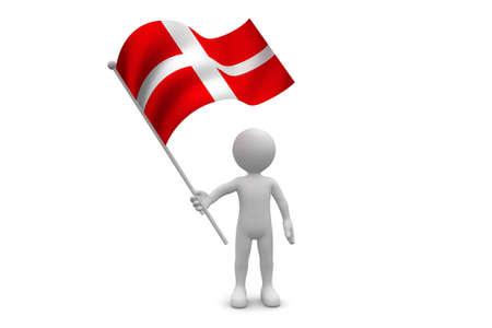Denmark Flag waving isolated on white background