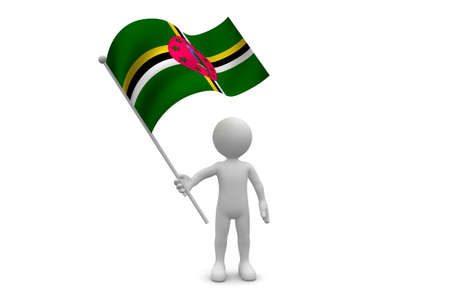 dominica: Dominica Flag waving isolated on white background Stock Photo
