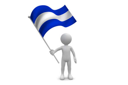 El Salvador Flag waving isolated on white background