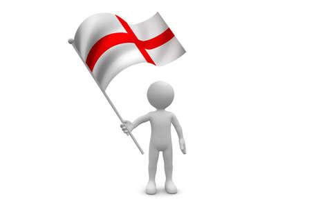 England Flag waving isolated on white background
