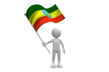 Ethiopia Flag waving isolated on white background Фото со стока