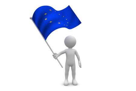 Europe Flag waving isolated on white background Фото со стока
