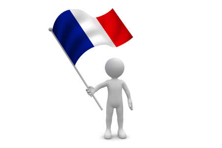 France Flag waving isolated on white background Фото со стока