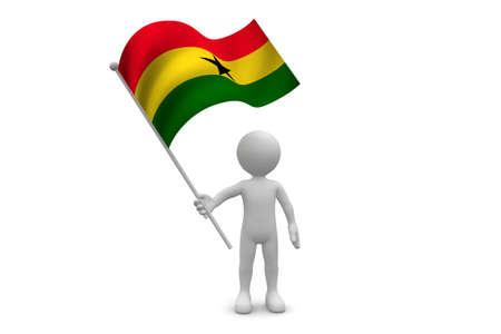 Ghana Flag waving isolated on white background Фото со стока