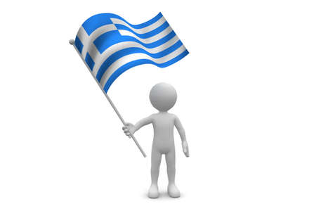 Greece Flag waving isolated on white background
