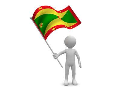 Grenada Flag waving isolated on white background