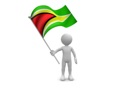 Guyana Flag waving isolated on white background Фото со стока