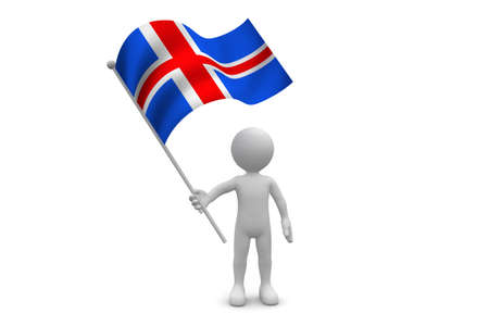 iceland flag: Iceland Flag waving isolated on white background