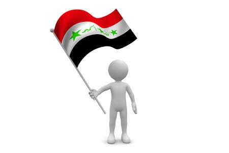 Iraq Flag waving isolated on white background Фото со стока