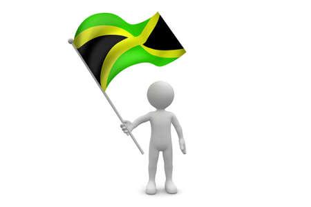 Jamaica Flag waving isolated on white background