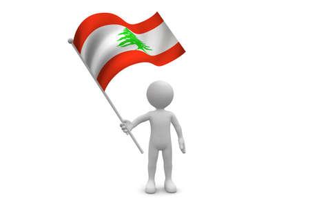 Lebanon Flag waving isolated on white background