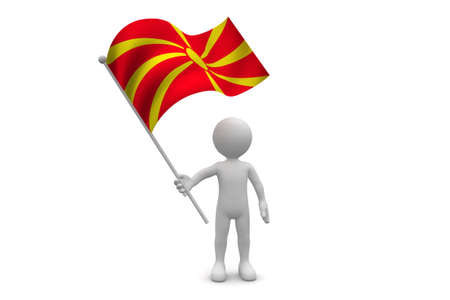 macedonia: Macedonia Flag waving isolated on white background Stock Photo