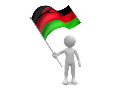 malawi: Malawi Flag waving isolated on white background