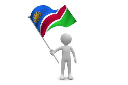 Namibia Flag waving isolated on white background
