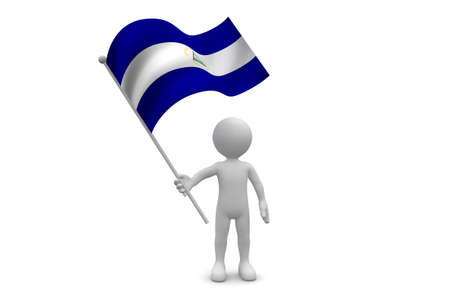 Nicaragua Flag  waving isolated on white background