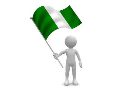 Nigeria Flag waving isolated on white background Фото со стока