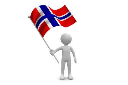 Norway Flag waving isolated on white background