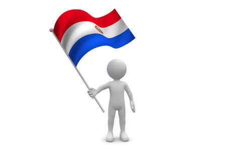 bandera de paraguay: Bandera de Paraguay ondeando aislados sobre fondo blanco