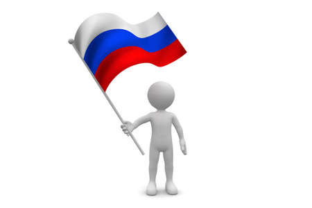 russia flag: Russia Flag waving isolated on white background Stock Photo