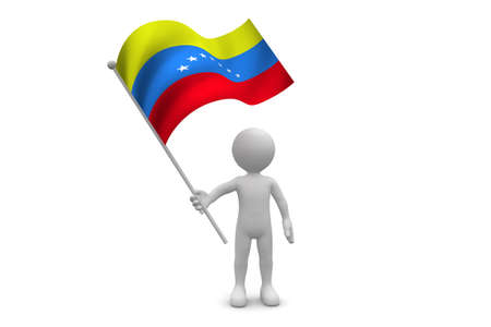 venezuela: Venezuela Flag waving isolated on white background Stock Photo