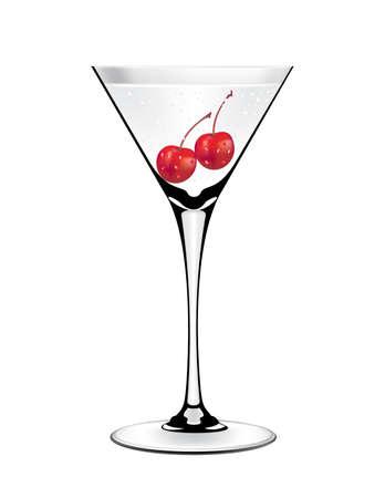 Cherry Martini Cocktail vector