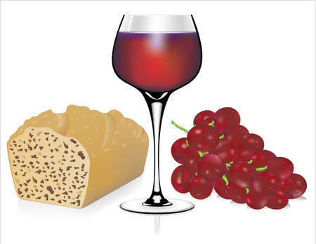 bread and wine: wine and bread vector Illustration