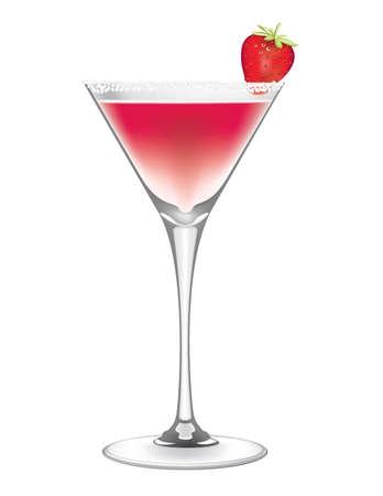 Strawberry Margarita Cocktail vector Иллюстрация