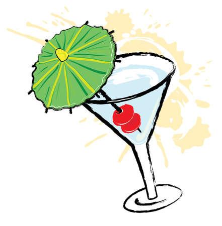 Cherry Cocktail cartoon Иллюстрация