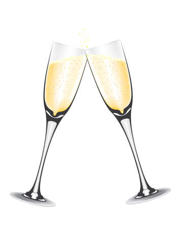Two champagne in glass vector