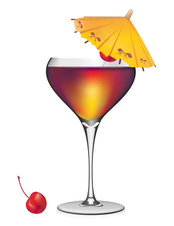 Tropical Cocktail vector Иллюстрация