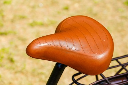 Brown saddle, trunk. Details of the pleasure bike