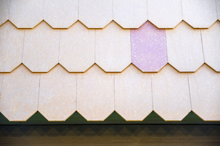 Tile building materials used for the roof of the house.