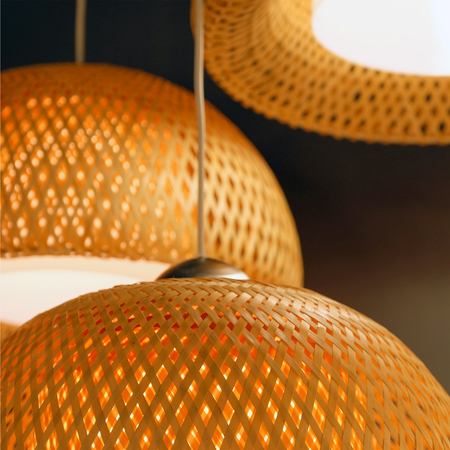 Rattan weave close-up. The green fabric lampshade at the magazine. colorful, decorative, electrical, furniture, illumination, lamp, lampshade, style, textile, abstract background, hanging lamp, interior design Banque d'images